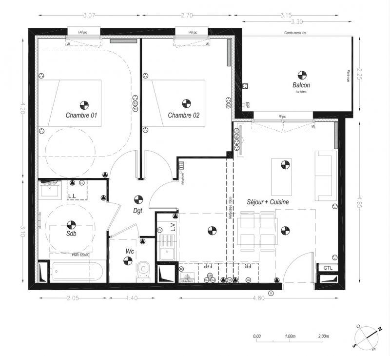 Bordeaux Métropole Cenon – Beau T3 de 56 m2 avec BALCON exposé ouest
